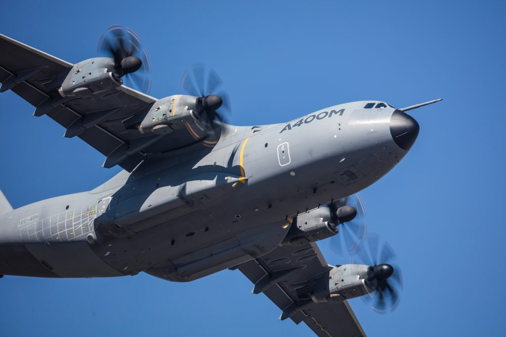 A400M four-engine turboprop military transport aircraft performing a flight demonstration.<br>