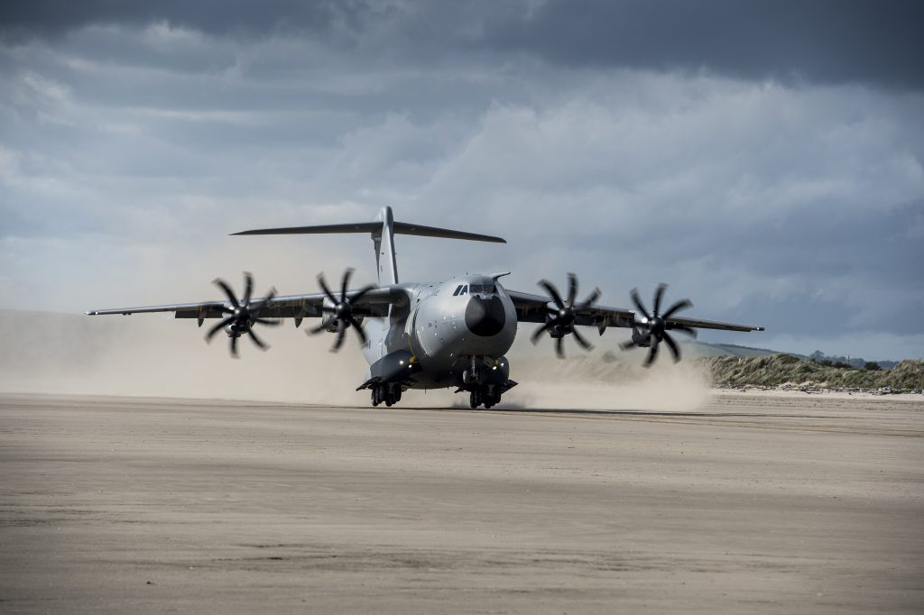 A400M and TP400 engines beach landing 2017