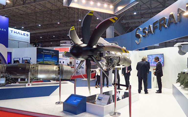 TP400 engines on Safran's stand at 2017 Dubai Airshow.