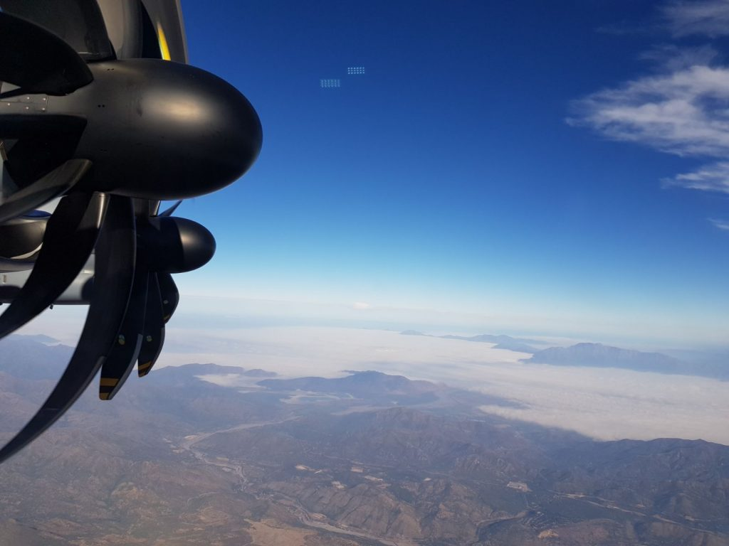 A400M flying with TP400-D6 engines and Santiago de Chile